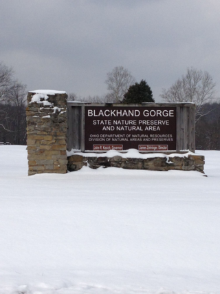 Blackhand Gorge State Nature Preserve and Natural Area sign